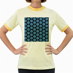 Hexagon2 Black Marble & Blue Colored Pencil (r) Women s Fitted Ringer T Shirt by trendistuff