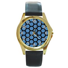 Hexagon2 Black Marble & Blue Colored Pencil (r) Round Gold Metal Watch by trendistuff
