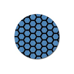 Hexagon2 Black Marble & Blue Colored Pencil (r) Magnet 3  (round) by trendistuff