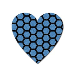 Hexagon2 Black Marble & Blue Colored Pencil (r) Magnet (heart)