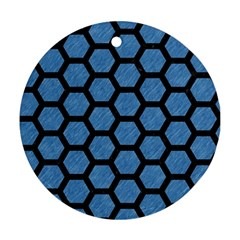 Hexagon2 Black Marble & Blue Colored Pencil (r) Round Ornament (two Sides) by trendistuff