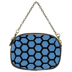 Hexagon2 Black Marble & Blue Colored Pencil (r) Chain Purse (two Sides) by trendistuff