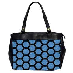 Hexagon2 Black Marble & Blue Colored Pencil (r) Oversize Office Handbag (2 Sides) by trendistuff