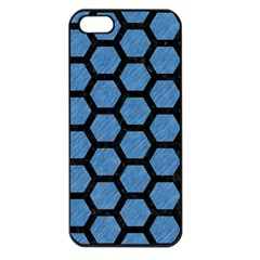 Hexagon2 Black Marble & Blue Colored Pencil (r) Apple Iphone 5 Seamless Case (black) by trendistuff