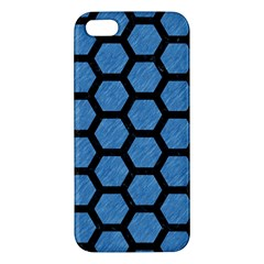 Hexagon2 Black Marble & Blue Colored Pencil (r) Apple Iphone 5 Premium Hardshell Case by trendistuff