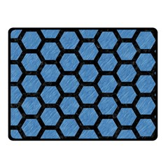 Hexagon2 Black Marble & Blue Colored Pencil (r) Double Sided Fleece Blanket (small) by trendistuff