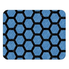 Hexagon2 Black Marble & Blue Colored Pencil (r) Double Sided Flano Blanket (large) by trendistuff
