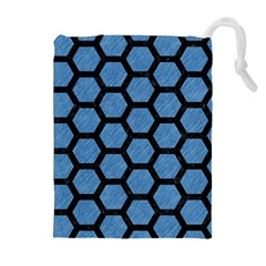 Hexagon2 Black Marble & Blue Colored Pencil (r) Drawstring Pouch (xl) by trendistuff
