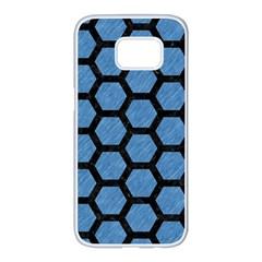 Hexagon2 Black Marble & Blue Colored Pencil (r) Samsung Galaxy S7 Edge White Seamless Case by trendistuff