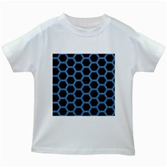 Hexagon2 Black Marble & Blue Colored Pencil Kids White T Shirt by trendistuff