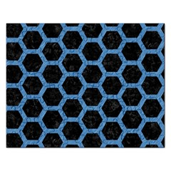 Hexagon2 Black Marble & Blue Colored Pencil Jigsaw Puzzle (rectangular) by trendistuff
