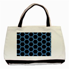 Hexagon2 Black Marble & Blue Colored Pencil Basic Tote Bag by trendistuff