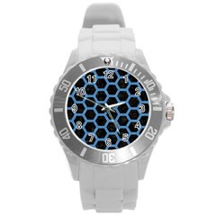 Hexagon2 Black Marble & Blue Colored Pencil Round Plastic Sport Watch (l) by trendistuff