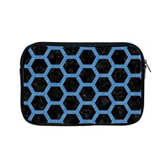 Hexagon2 Black Marble & Blue Colored Pencil Apple Ipad Mini Zipper Case by trendistuff