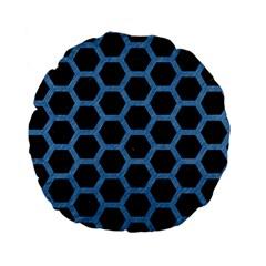Hexagon2 Black Marble & Blue Colored Pencil Standard 15  Premium Flano Round Cushion  by trendistuff