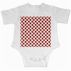Fresh Bright Red Strawberries on White Pattern Infant Creepers by PodArtist