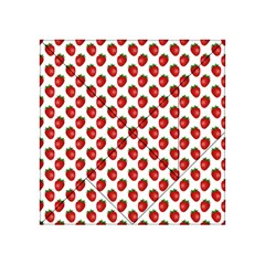Fresh Bright Red Strawberries on White Pattern Acrylic Tangram Puzzle (4  x 4 ) by PodArtist
