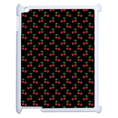 Natural Bright Red Cherries on Black Pattern Apple iPad 2 Case (White)