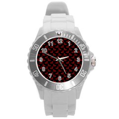Red Cherries On Black Round Plastic Sport Watch (L) by PodArtist