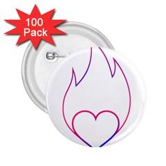 Heart Flame Logo Emblem 2 25  Buttons (100 Pack)  by Nexatart