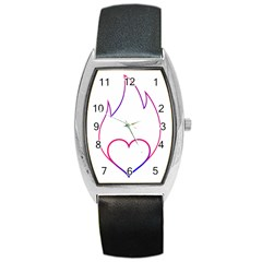 Heart Flame Logo Emblem Barrel Style Metal Watch by Nexatart