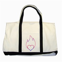Heart Flame Logo Emblem Two Tone Tote Bag