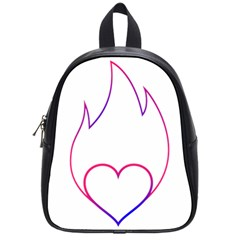Heart Flame Logo Emblem School Bags (small)  by Nexatart