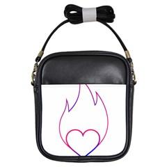 Heart Flame Logo Emblem Girls Sling Bags by Nexatart