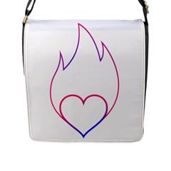 Heart Flame Logo Emblem Flap Messenger Bag (l)  by Nexatart