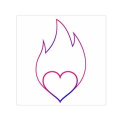 Heart Flame Logo Emblem Small Satin Scarf (square) by Nexatart