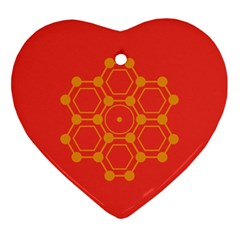 Pentagon Cells Chemistry Yellow Ornament (heart)