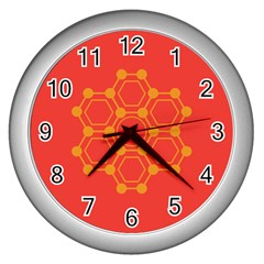 Pentagon Cells Chemistry Yellow Wall Clocks (silver)  by Nexatart