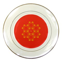 Pentagon Cells Chemistry Yellow Porcelain Plates by Nexatart