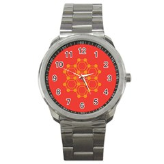 Pentagon Cells Chemistry Yellow Sport Metal Watch by Nexatart