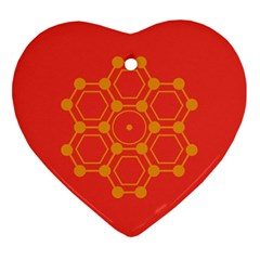 Pentagon Cells Chemistry Yellow Heart Ornament (two Sides) by Nexatart