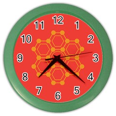 Pentagon Cells Chemistry Yellow Color Wall Clocks by Nexatart