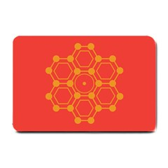Pentagon Cells Chemistry Yellow Small Doormat  by Nexatart