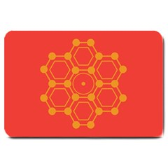 Pentagon Cells Chemistry Yellow Large Doormat  by Nexatart