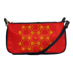Pentagon Cells Chemistry Yellow Shoulder Clutch Bags by Nexatart