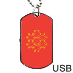 Pentagon Cells Chemistry Yellow Dog Tag Usb Flash (one Side)