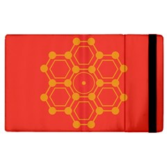Pentagon Cells Chemistry Yellow Apple Ipad 2 Flip Case by Nexatart