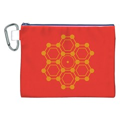 Pentagon Cells Chemistry Yellow Canvas Cosmetic Bag (xxl)