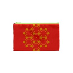 Pentagon Cells Chemistry Yellow Cosmetic Bag (xs) by Nexatart