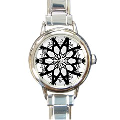 Pattern Abstract Fractal Round Italian Charm Watch by Nexatart