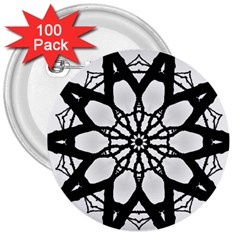 Pattern Abstract Fractal 3  Buttons (100 Pack)