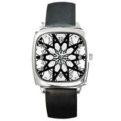 Pattern Abstract Fractal Square Metal Watch