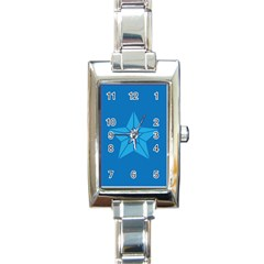 Star Design Pattern Texture Sign Rectangle Italian Charm Watch