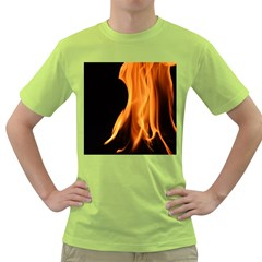 Fire Flame Pillar Of Fire Heat Green T Shirt