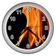 Fire Flame Pillar Of Fire Heat Wall Clocks (silver)  by Nexatart