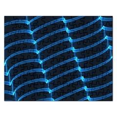 Background Light Glow Blue Rectangular Jigsaw Puzzl by Nexatart